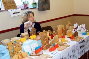 Georgina with her lovely wooden art stall